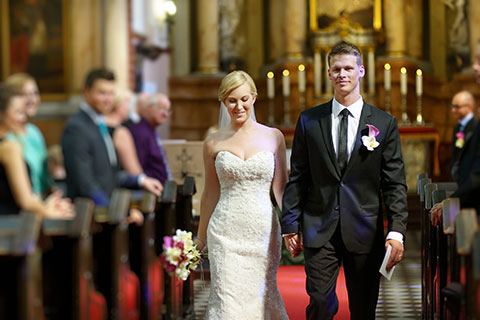 Bride and groom leaving the church